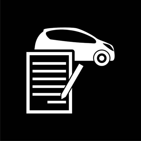 Car purchasing contract icon on dark background
