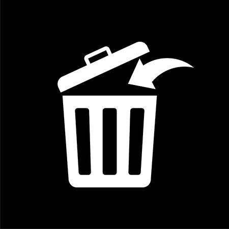Trash bin or trash can symbol icon on dark background