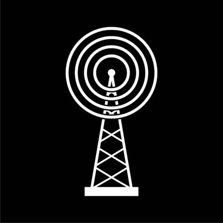 Transmitter simple icon, Transmitter tower icon on dark background Illustration