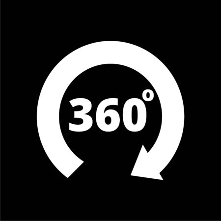 360 degrees line icon on dark background