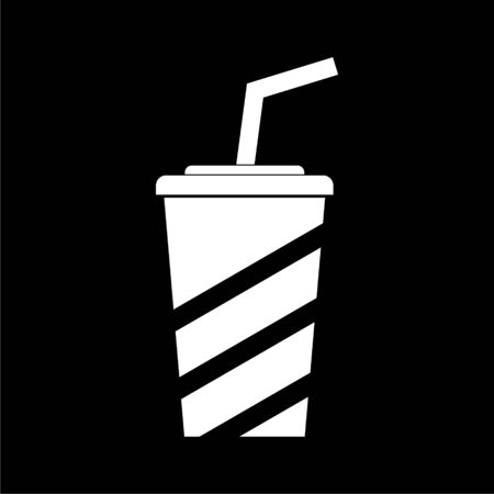 Soda icon, Drink icon, Disposable Cup on dark background Illustration