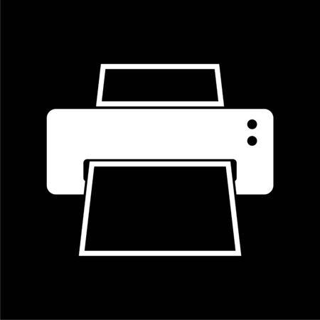 Printer icon on dark background Illustration