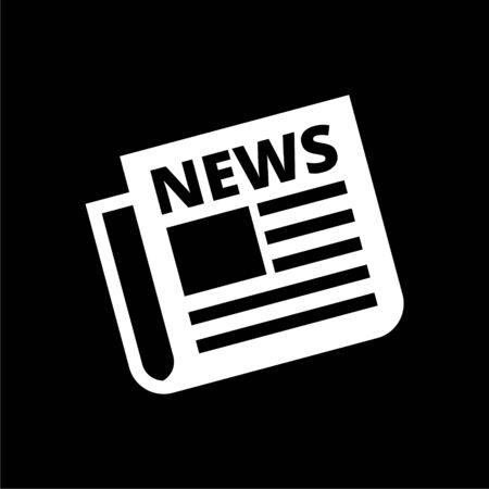 Newspaper icon, News icon on dark background Illustration