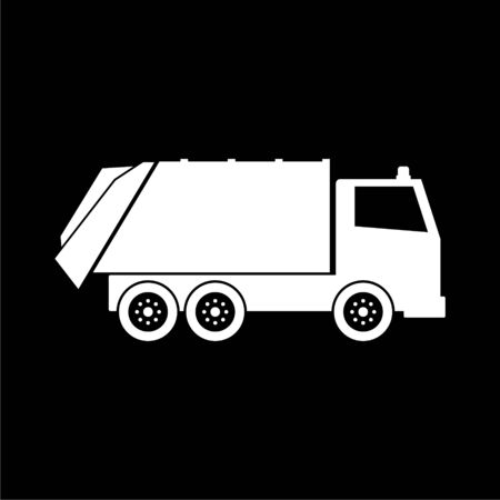 Recycle truck icon, Garbage Truck on dark background Illustration