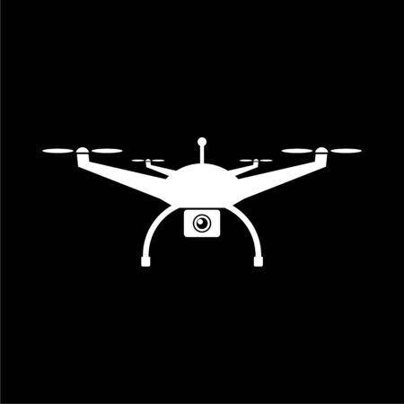Quadrocopter Drone icon on dark background Illustration