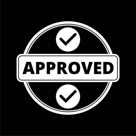 Approved button sign icon on dark background
