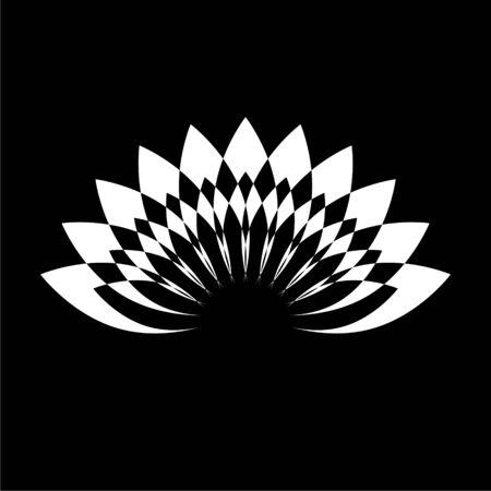 Lotus plant, Lotus silhouette icon on dark background Illustration