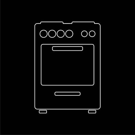 Oven icon, Stove Icon on dark background Illustration
