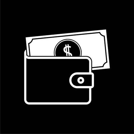 Wallet icon on dark background Illustration
