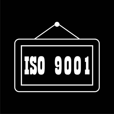 ISO 9001 certified sign icon on dark background Illustration