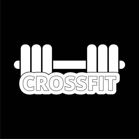 Gym dumbbell flat design, Cross fit icon on dark background Illustration