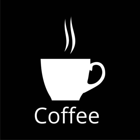 Coffee cup icon on dark background Illustration