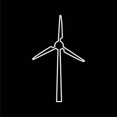 Wind turbine icon, eco concept on dark background