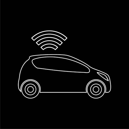 The Connected Car. Smart car icon with wireless connectivity symbol on dark background Illustration