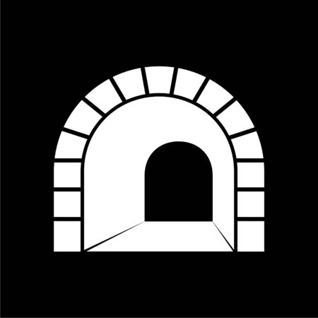 Road with tunnel icon on dark background
