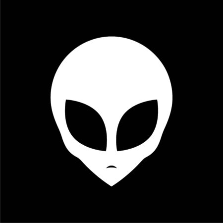 Alien head icon, Extraterrestrial alien face on dark background