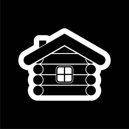 Wood log house icon on dark background