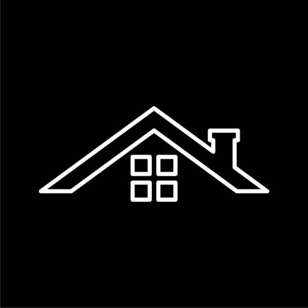Home roof icon on dark background