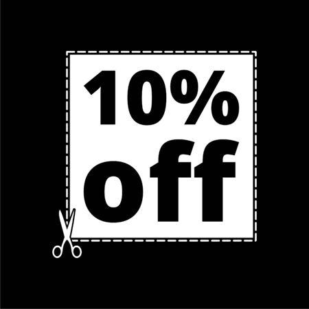 Coupon design, sale icon 10% on dark background Ilustracja