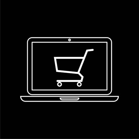 Online shop sign, Online shopping on laptop icon on dark background Vettoriali