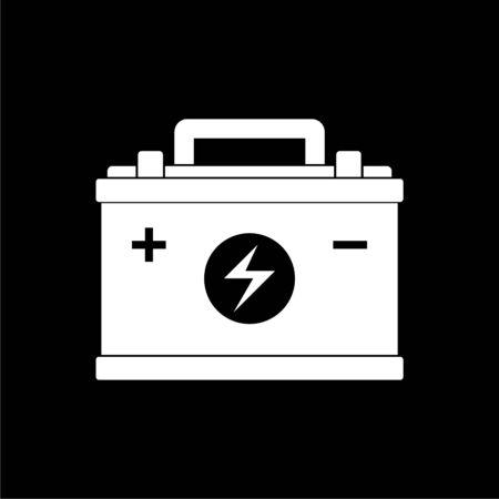 Car battery icon, Electricity accumulator battery icon on dark background Ilustracja