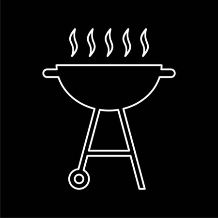BBQ, Grill Or Barbecue icon on dark background