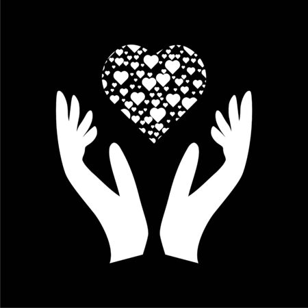 Heart in hands sign icon, Donation icon on dark background Illustration
