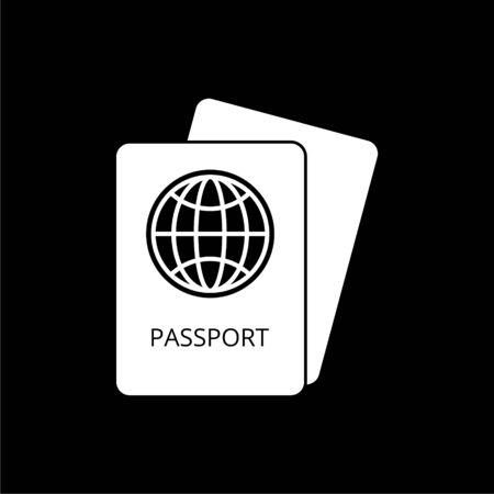 Passport simple icon on dark background