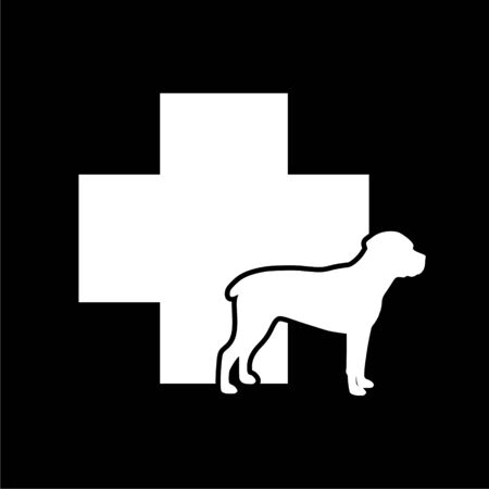 Veterinary icon with medicine symbol, Dog icon on dark background