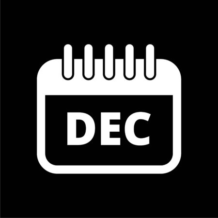December calendar icon, Calendar sign, December month symbol on dark background 일러스트