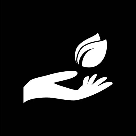 Leaf in hand icon, Leaf on the hand on dark background