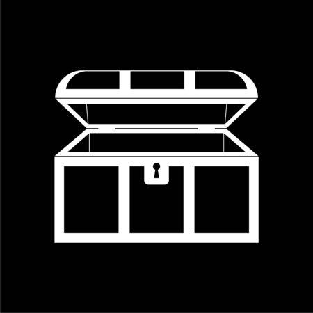 Treasure chest open icon on dark background