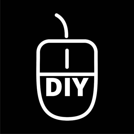 Computer mouse with the text DIY, Do it yourself icon on dark background