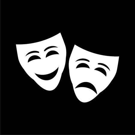 Theater mask line icon on dark background Stock Illustratie