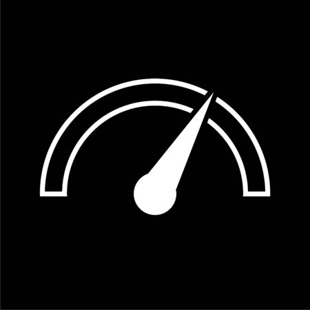 Vector performance measurement icon, speedometer icon on dark background