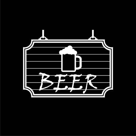 Old wooden signboard Beer icon on dark background