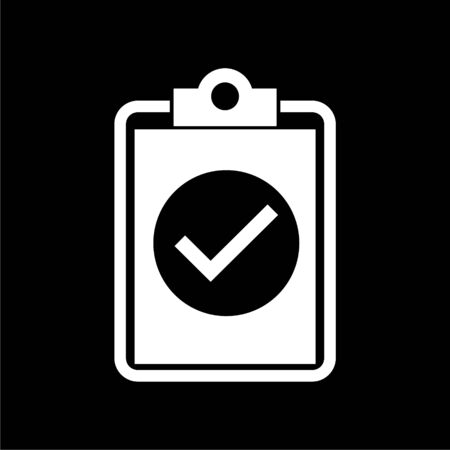 Checklist icon, checklist icon form approved on dark background