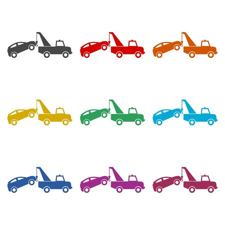 Tow truck with car on it, flat style illustration, Car tow service, color icons set Stock Vector - 128778649