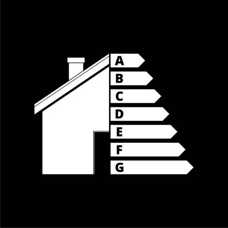 Housing energy efficiency icon, House and energy efficiency concept on dark background