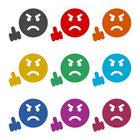 Angry emoticon, emoji icon, color icons set