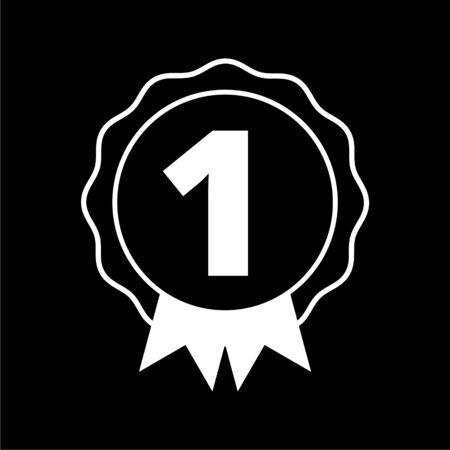 Number 1 badge, Award black icon on dark background Ilustração