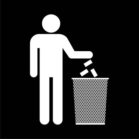 Human silhouette throwing garbage into a trash can icon on dark background Foto de archivo - 128779273