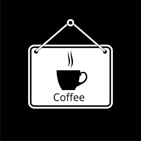 Coffee sign black icon on dark background