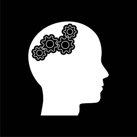 Human head with gears icon, Head with gears concept on dark background