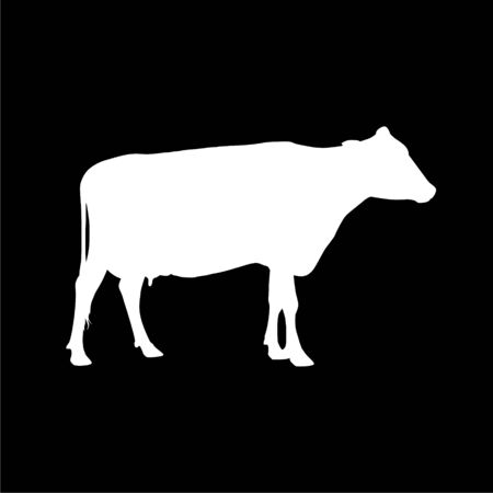Cow silhouette icon on dark background