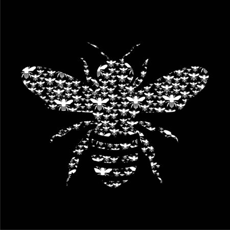 Bee Silhouette icon on dark background