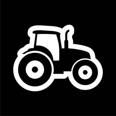 Tractor icon on dark background  イラスト・ベクター素材