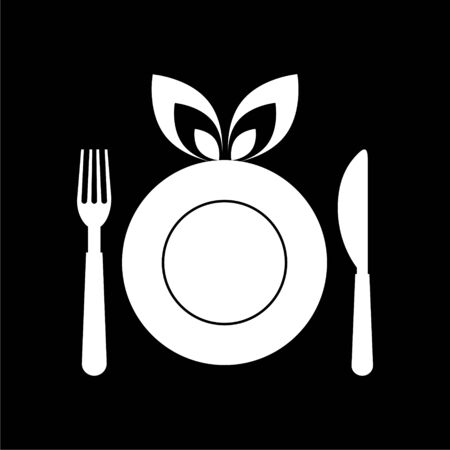 Healthy Food Plate icon, Food dinning kitchen menu restaurant icon on dark background Stock Illustratie