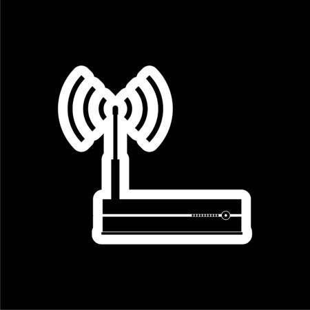 Router icon, Modem router, simple vector icon on dark background 矢量图像