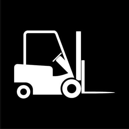 Forklift icon, Forklift truck side silhouette on dark background